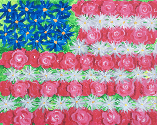 Red White and Blooms Acrylic Painting for The Paint Sesh by Chelz Franzer