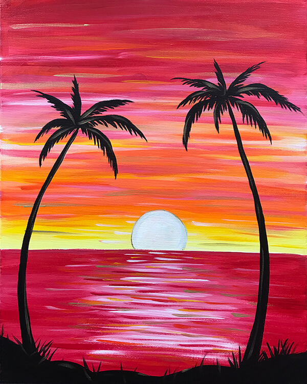 Summer Sunset Acrylic Painting for The Paint Sesh by Chelz Franzer