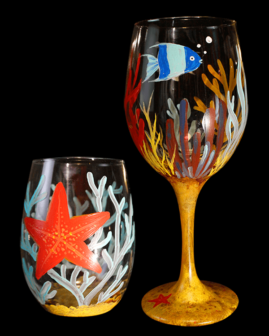 Under the Sea Wine Glasses