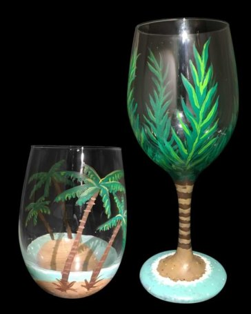 Palm Tree Wine Glasses