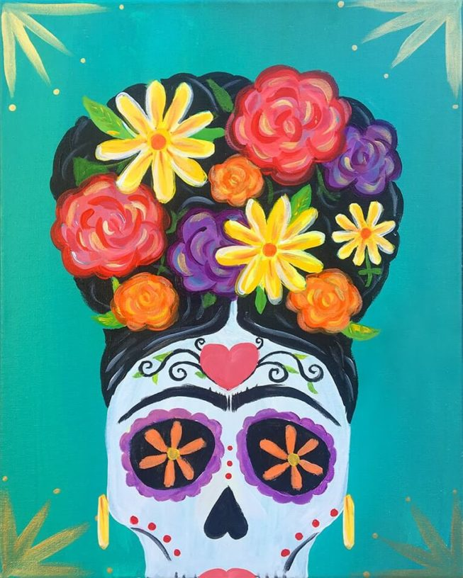 Dia De La Frida Acrylic Painting by Chelz Franzer for The Paint Sesh