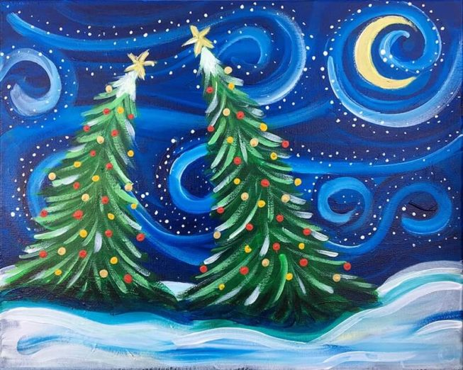 Snowy Night acrylic painting