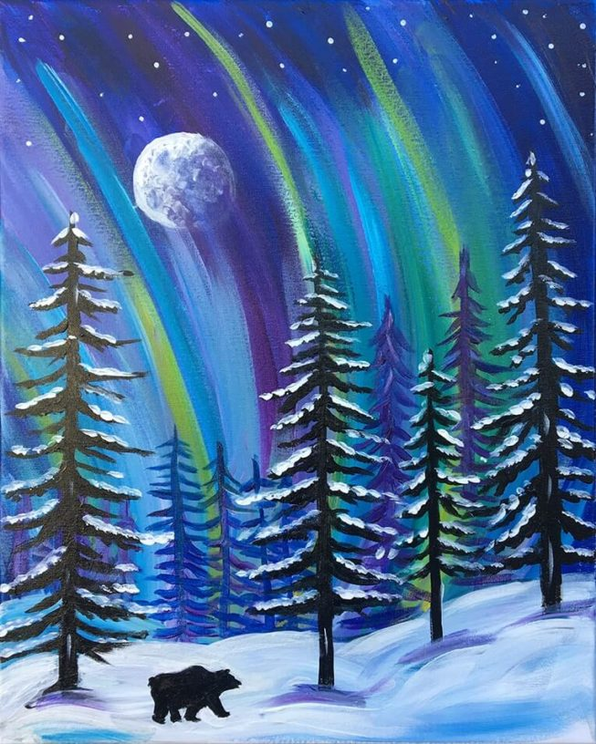 Winter Lights Acrylic Painting