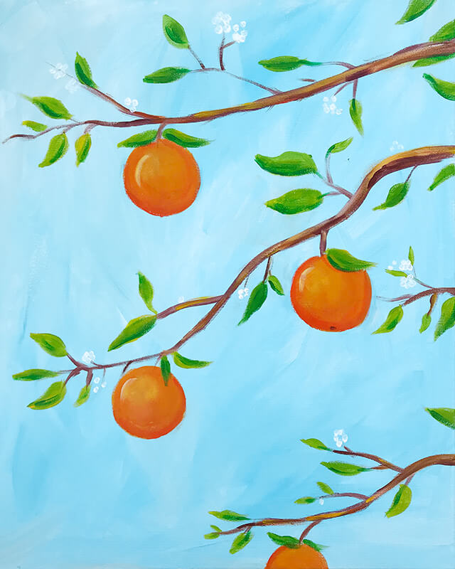 Orange Citrus Acrylic Painting