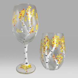 Birch Trees Wine Glasses
